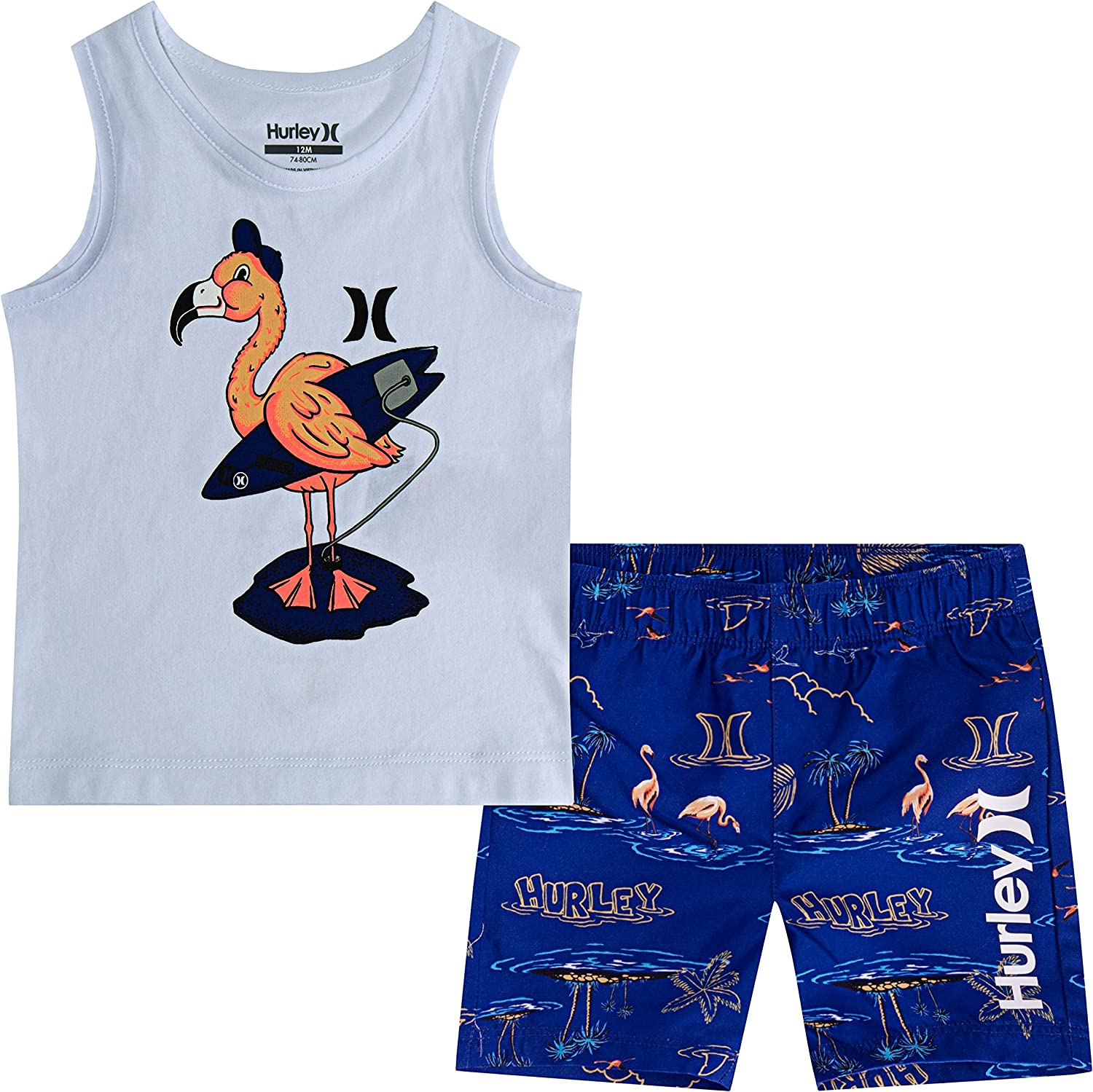 Hurley Baby Boys Tank Top and Shorts 2-Piece Outfit Set