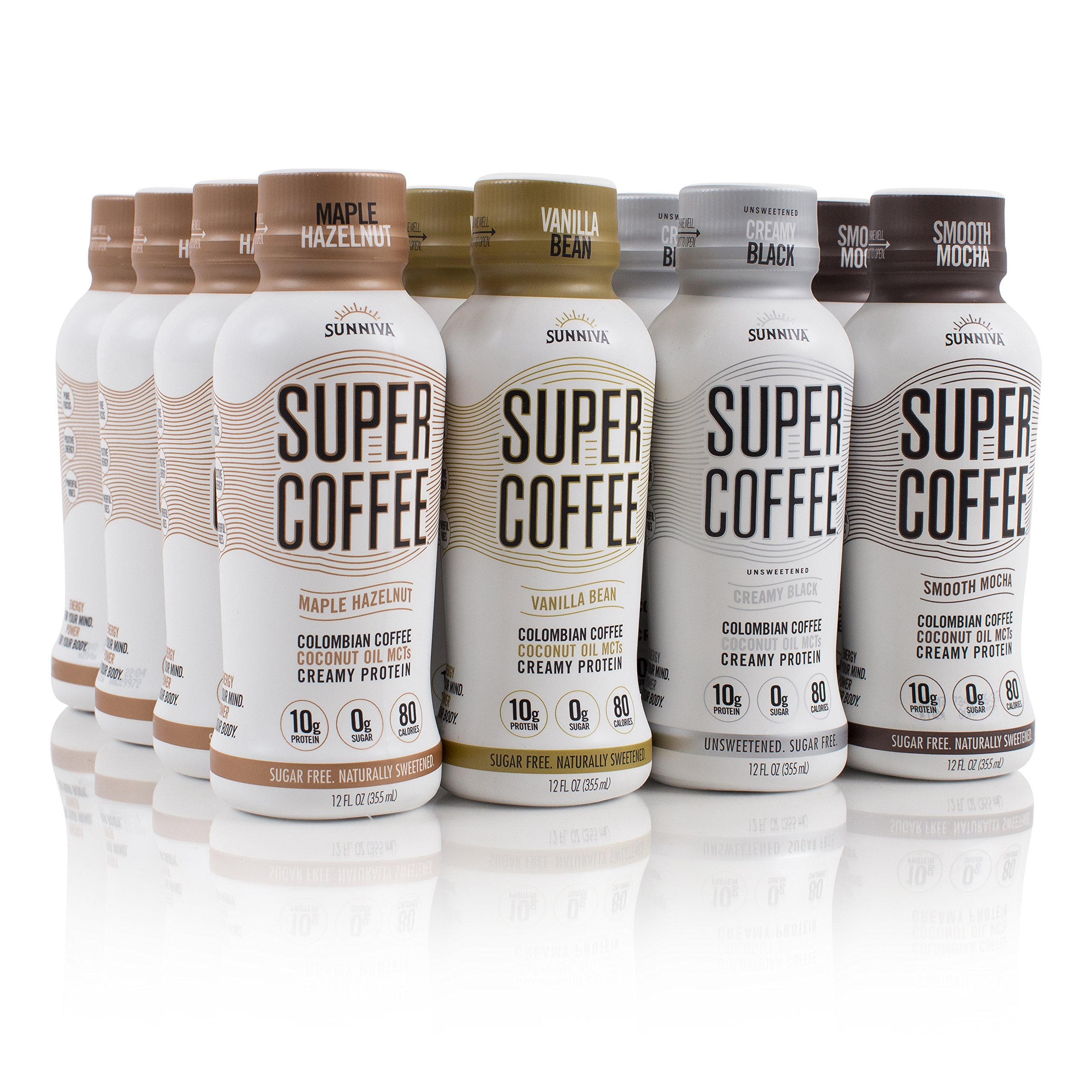SUNNIVA Super Coffee 12 Variety Pack NEW Sugar-Free Formula, 10g Protein, Lactose Free, Soy Free, Gluten Free (3 each of Vanilla Bean, Smooth Mocha, Maple Hazelnut, and Creamy Black) by Sunniva Caffe
