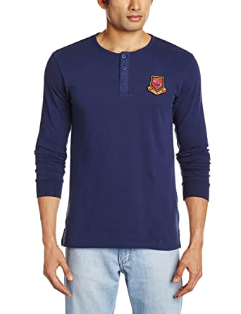 8ebba899ab60 Freecultr Men's Henley T-Shirt (Faint Blue) (8903845102682): Amazon ...