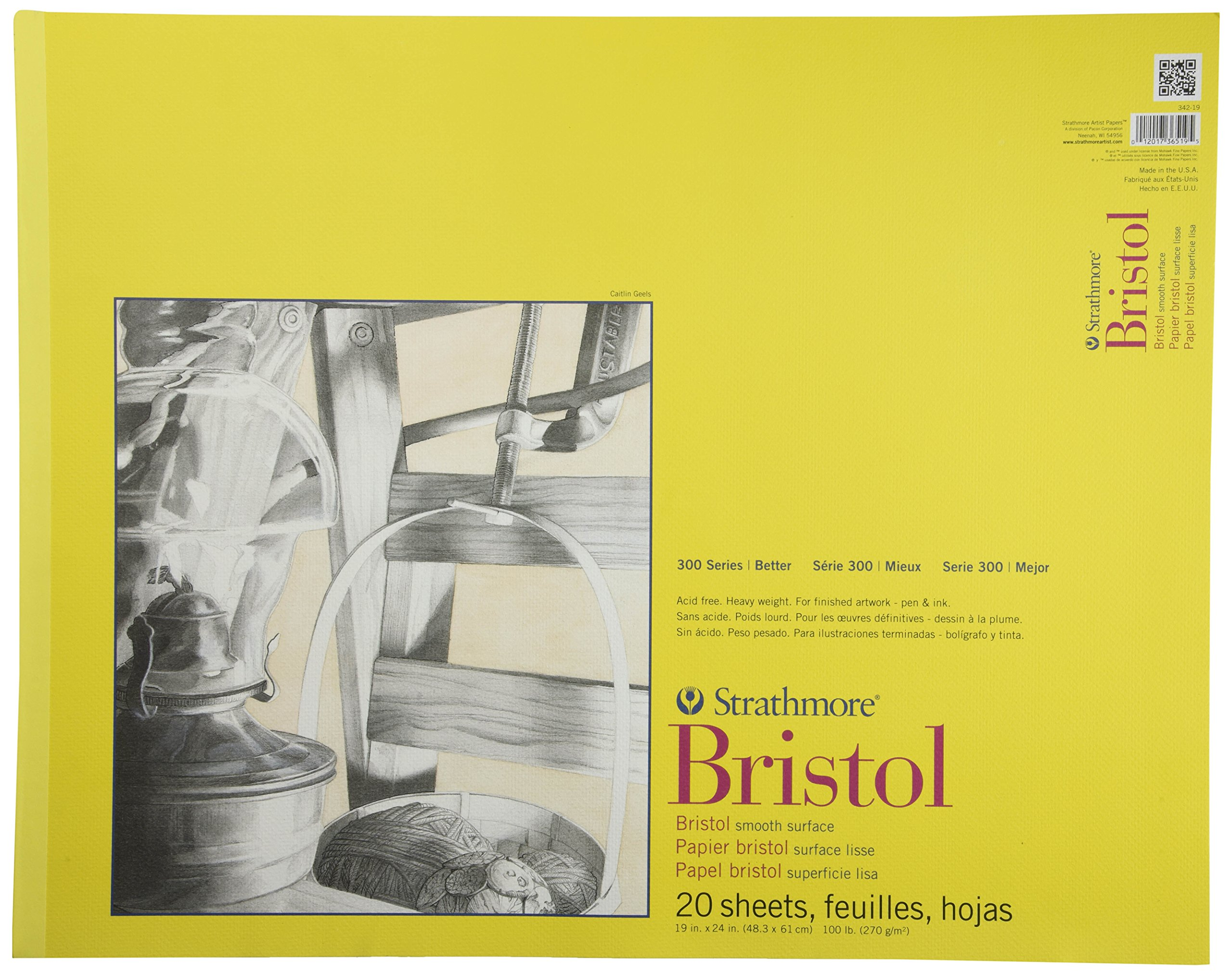 Strathmore 300 Series Bristol Smooth Pad, 19x24 Tape Bound,.