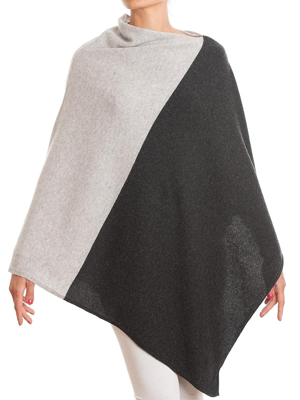 DALLE PIANE CASHMERE Poncho Bicolor 100% Cashmere - Women Color: Beige One Size VER070B_BTU