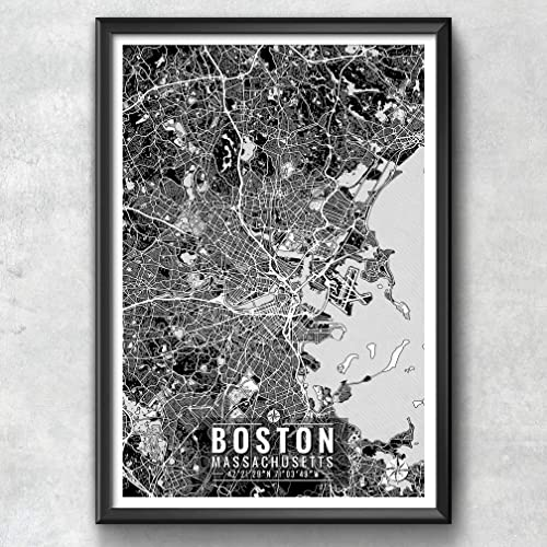 Amazon Com Boston Map With Coordinates Boston Wall Art Boston Map