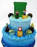 "Super Mario Brothers Game Scene Birthay Cake Topper Featuring 2"" Figures of Mario, Luigi, Mushroom, Goomba, Koopa Troopa…"