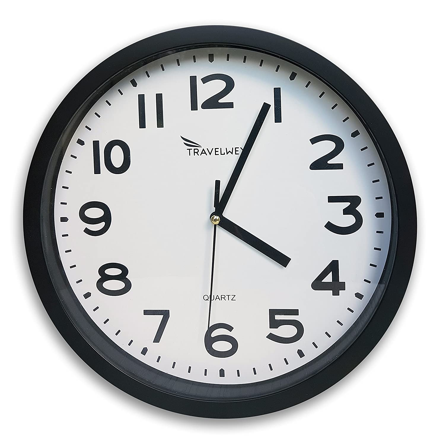 Travelwey Home Wall Clock - No Bells, No Whistles, Simply Hang and Go, Non Ticking, Big Bold Digits, Analog, Battery Operated, Black