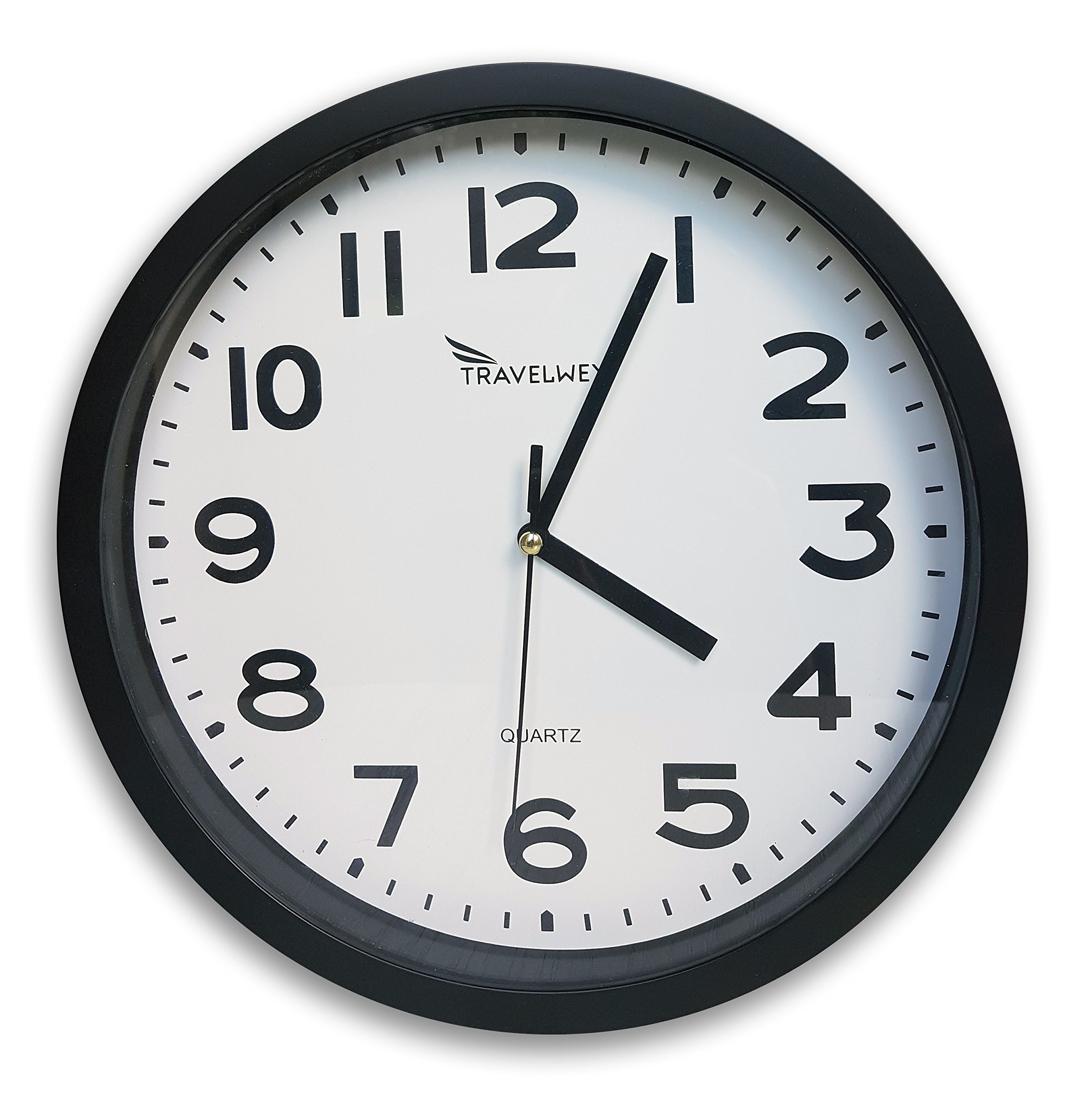 Travelwey Home Wall Clock - No Bells, No Whistles, Simply Hang and Go, Non Ticking, Big Bold Digits, Analog, Battery Operated, Black by Travelwey