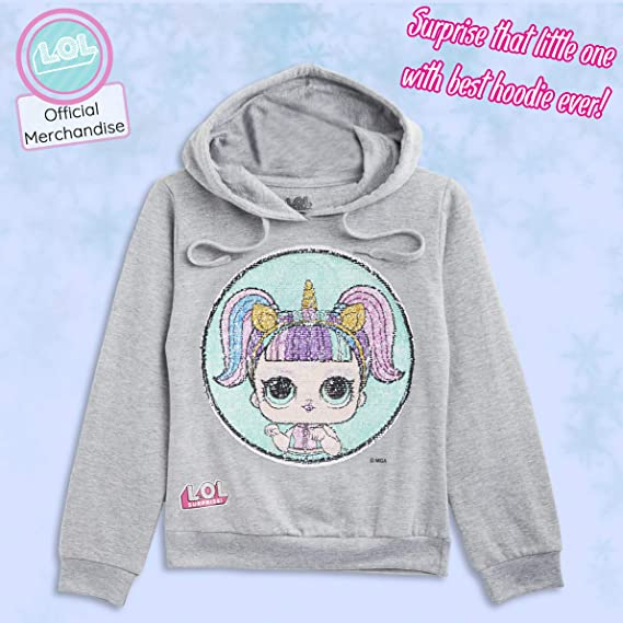 Unicorn Gifts for Girls Age 4-10 Years Surprise L.O.L Long Sleeve Cotton Sweatshirt Cool Reversible Sequin Amazing LOL Dolls Kitty Queen Unicorn Hoodie for Girls Girls Hoodies