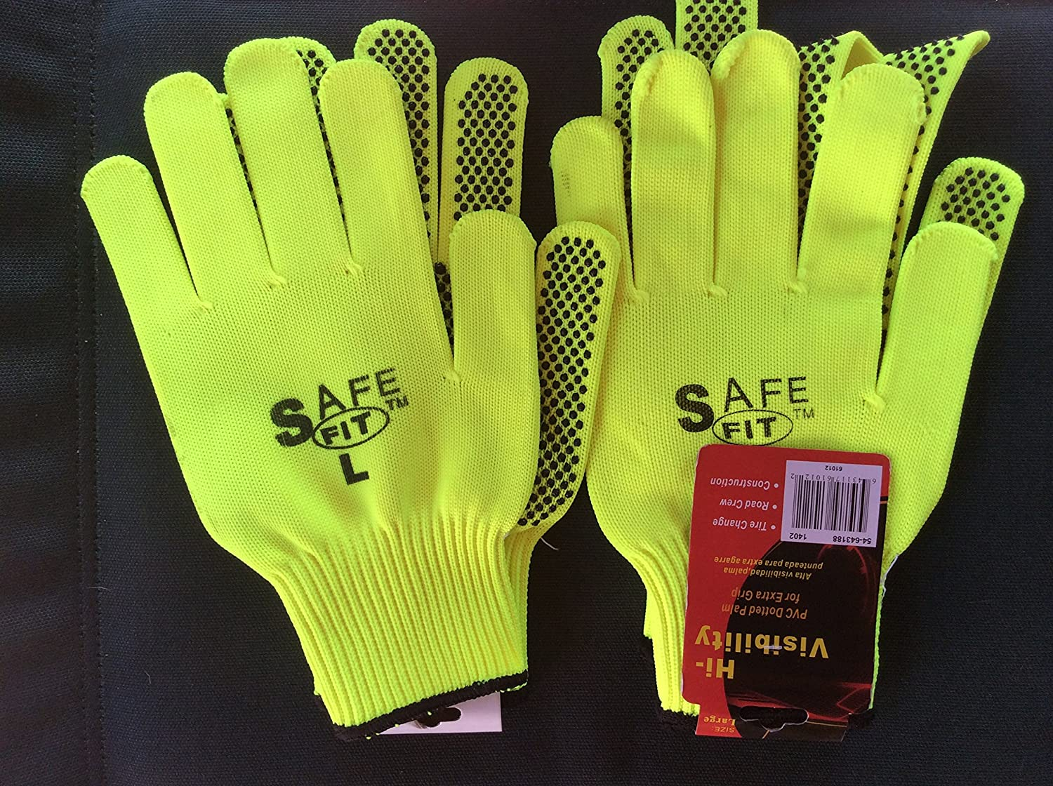 neon green PVC Dotted Palm 2 pack Safe Fit Large Gloves TRU FORGE Large Hi-Visibility