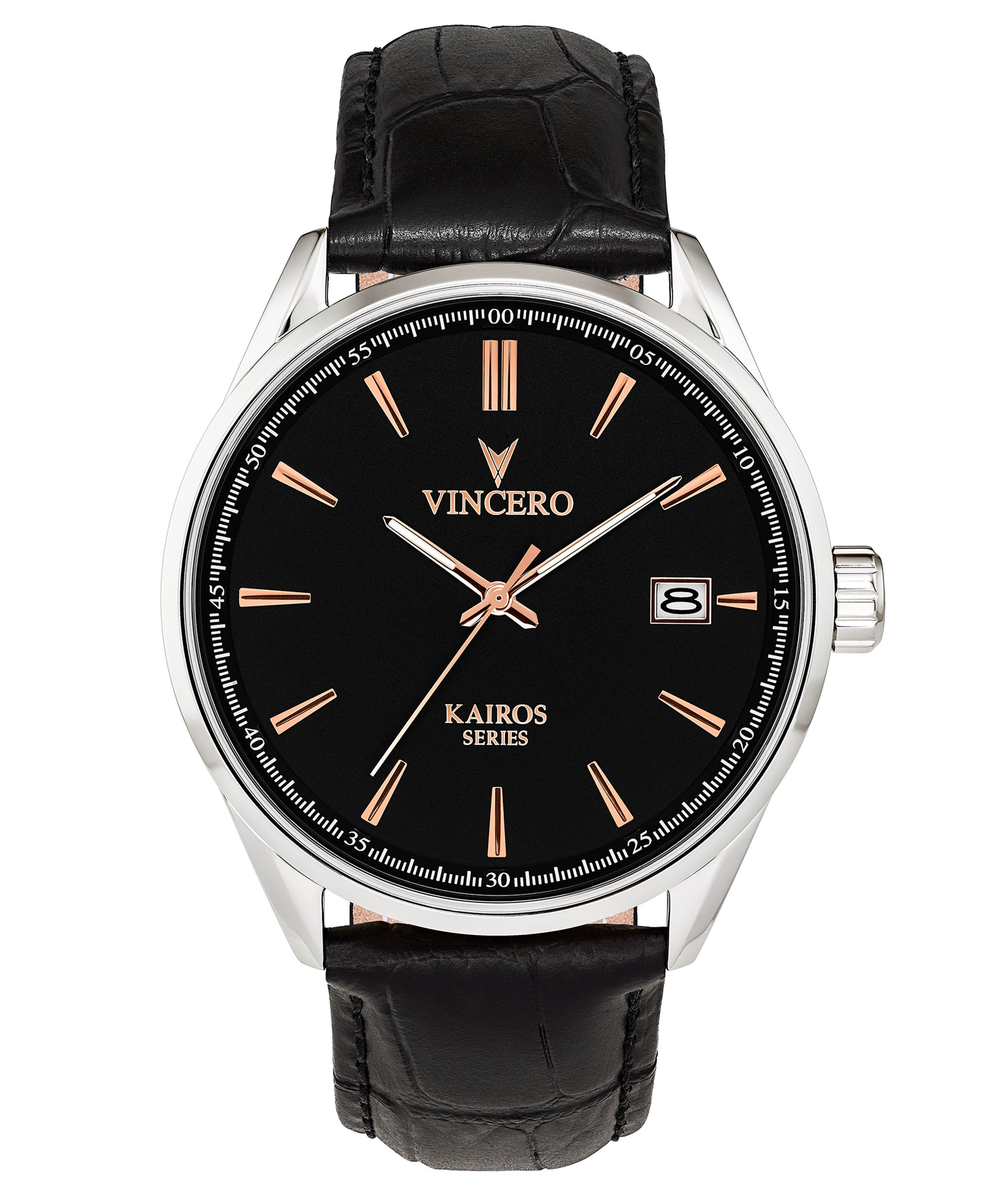 Vincero Men's Kairos Watch - Black + Rose Gold with Leather Band by Vincero