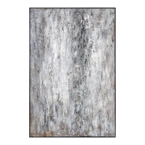 White And Gold Leaf Rectangular Abstract Art