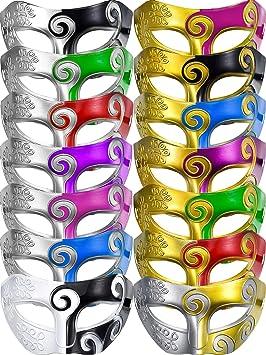TecUnite - Máscara Veneciana para Disfraz de Media máscara de 14 Piezas, Unisex, Color