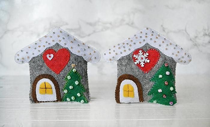 Amazon Com Felt House Christmas House Decorations Christmas Tree