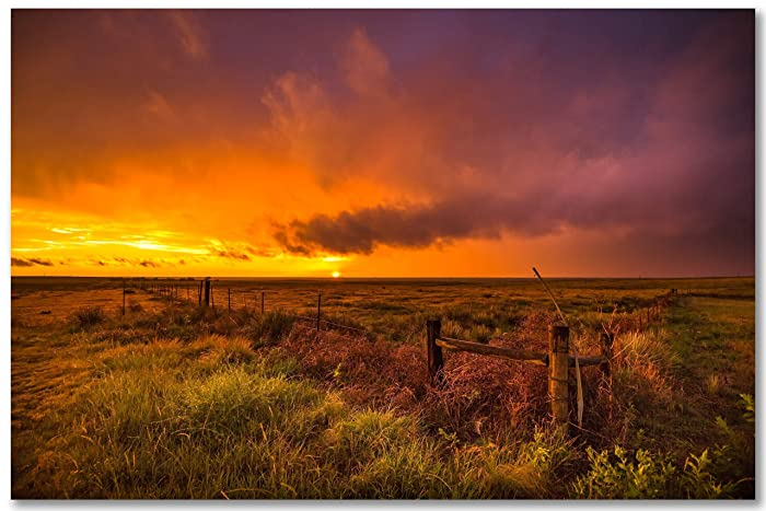 Great Plains Photography Print Picture of Sunset Over Prairie in Oklahoma