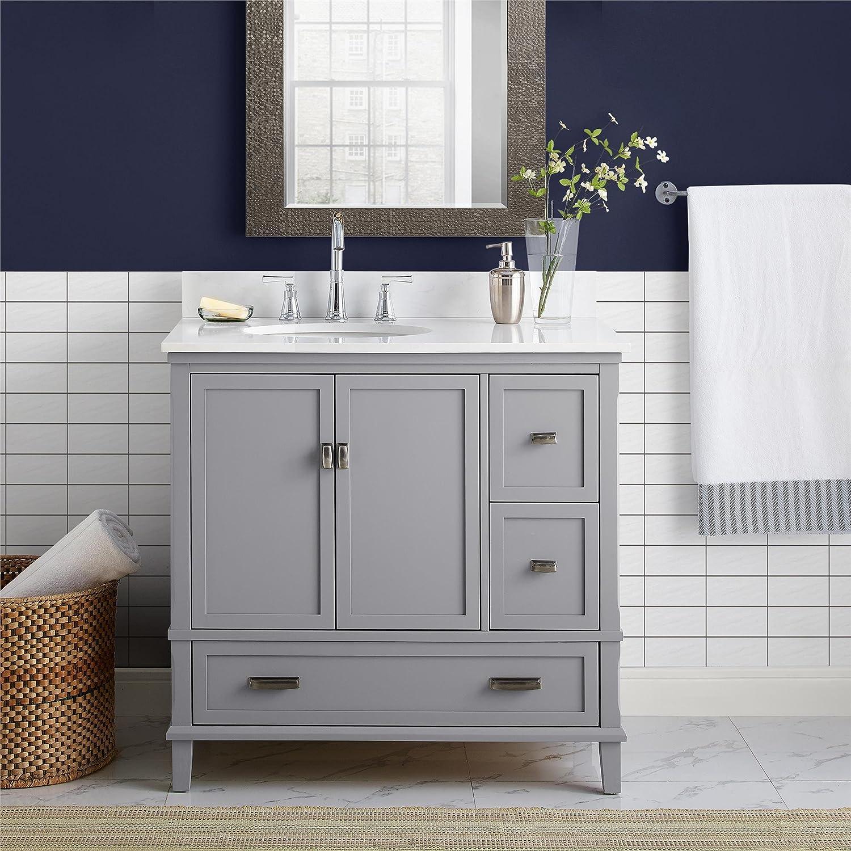 "Dorel Living Otum 24/"" Bathroom Vanity Dark Walnut"