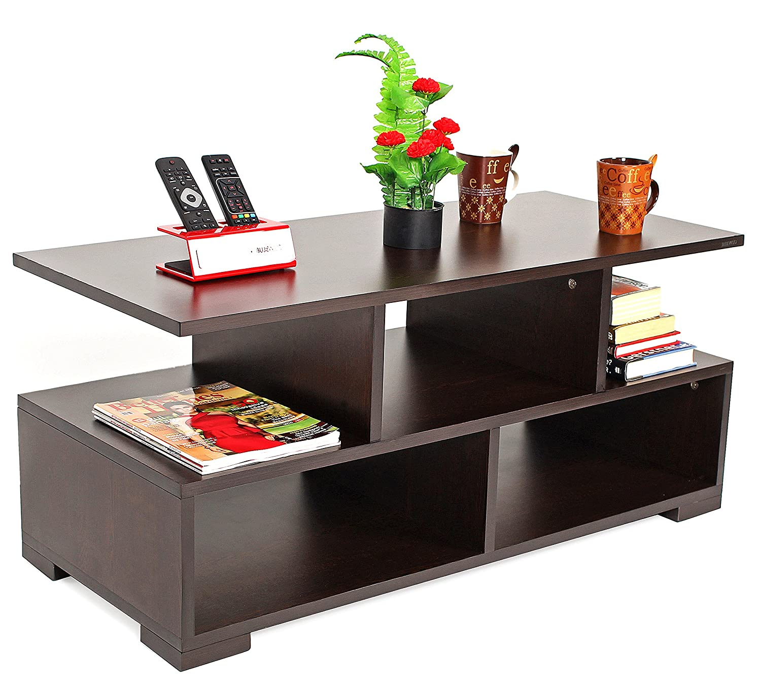 Bluewud Victor Coffee Table With Shelves Wenge