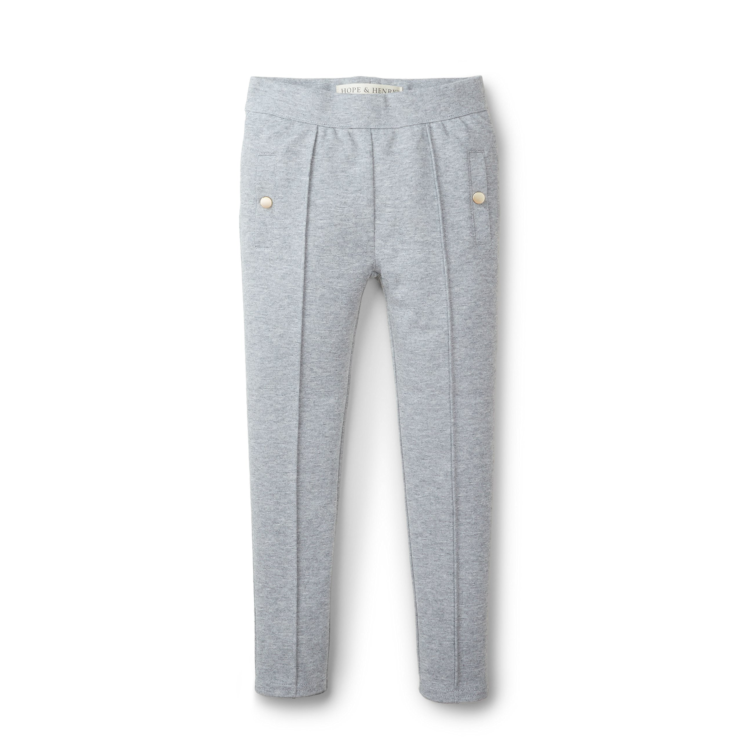 Hope & Henry Girls' Grey Pintuck Ponte Pant Made with Organic Cotton Size 10