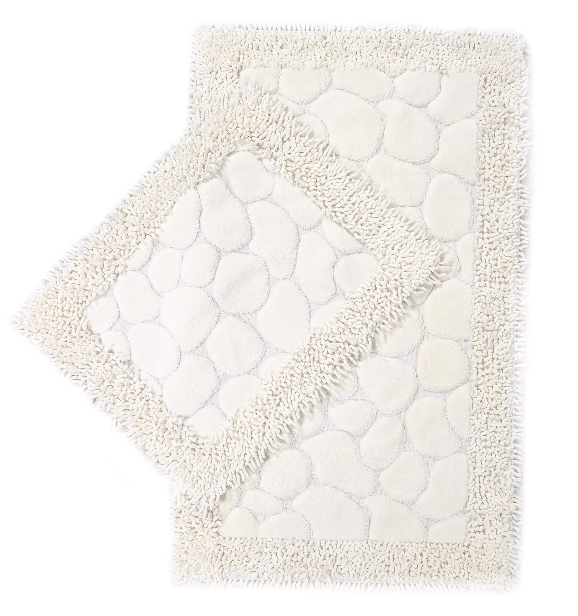 Luxury Soft Cotton Patterned Bath-Mat Set, 2 Piece, Bathroom & Kitchen Shaggy Runner, Machine Washable, Absorbent, Quick-Dry, Shower, Bathtub & Toilet Step Out Rug (Stone Cream) (23''x19'' plus 23''x40'')