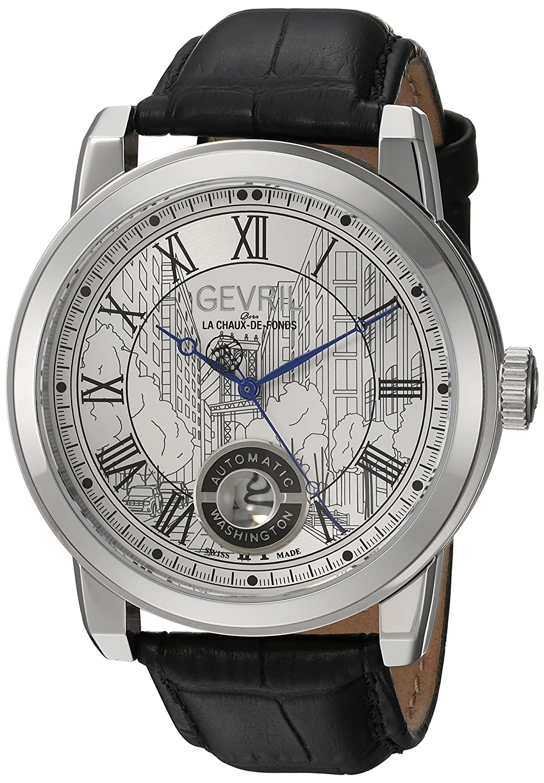 Gevril Washington Men s Swiss Automatic Black Leather Strap Watch, Model 2620L