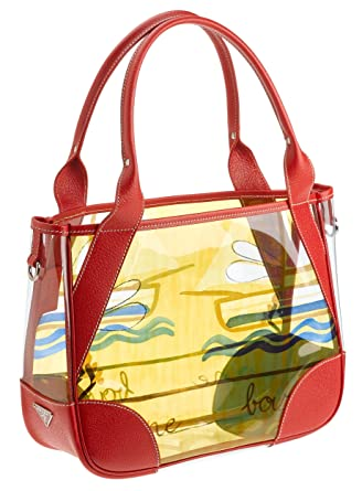 Image Unavailable. Image not available for. Color  Prada Women s Printed  Plastic Tote Bag with Leather ... 407fb077b5