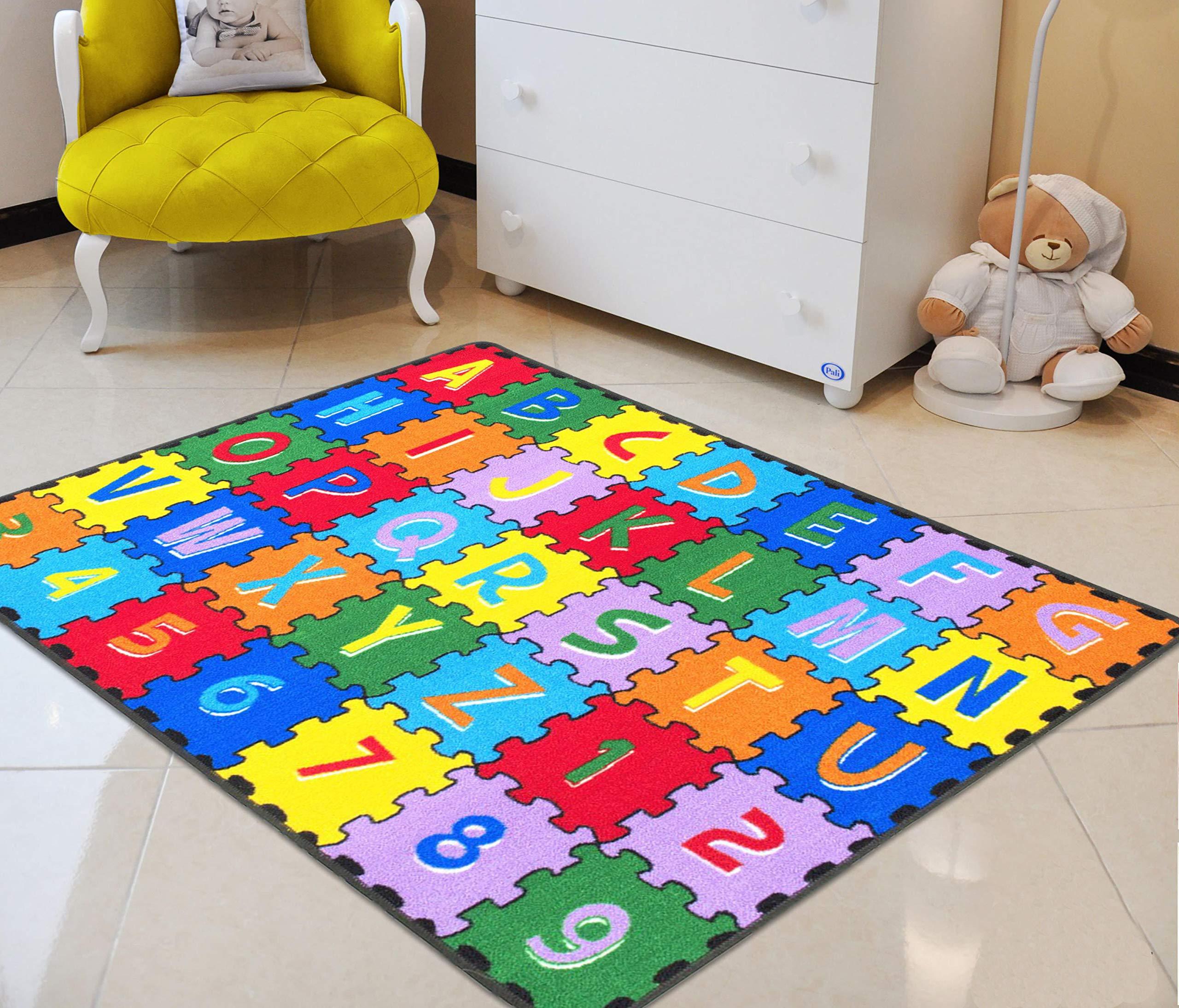 Alphabet/ABC Puzzle Letters/Numbers Kids Accent Kids/Boys/Girls/Children/Toddler Educational Play mat for School/Daycare/Nursery Non-Slip Area Rug/Carpet-Teachers/Students Best Friend (Multi Color)