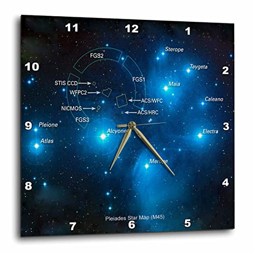 3dRose dpp_76809_2 Galaxy and Nebula-Pleiades Star Cluster Map M45 -Wall Clock, 13 by 13-Inch