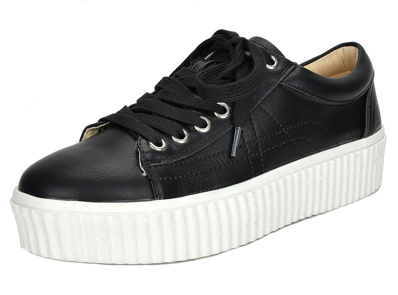 TOETOS Women's REINNA-01 Lace up Platform Sneakers Shoes B01MR3N1SZ 11 B(M) US|Black White