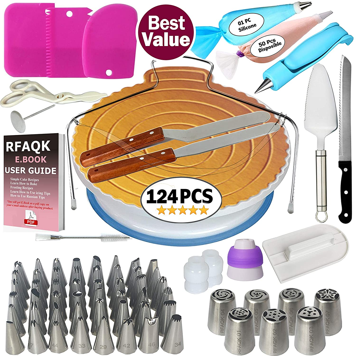 124 PCs Cake Decorating Supplies Kit for Beginners-1 Turntable stand- Cake server & knife set-48 Numbered Easy to use icing tips with pattern chart and E.Book-7 Russian Piping nozzles -2 Spatulas