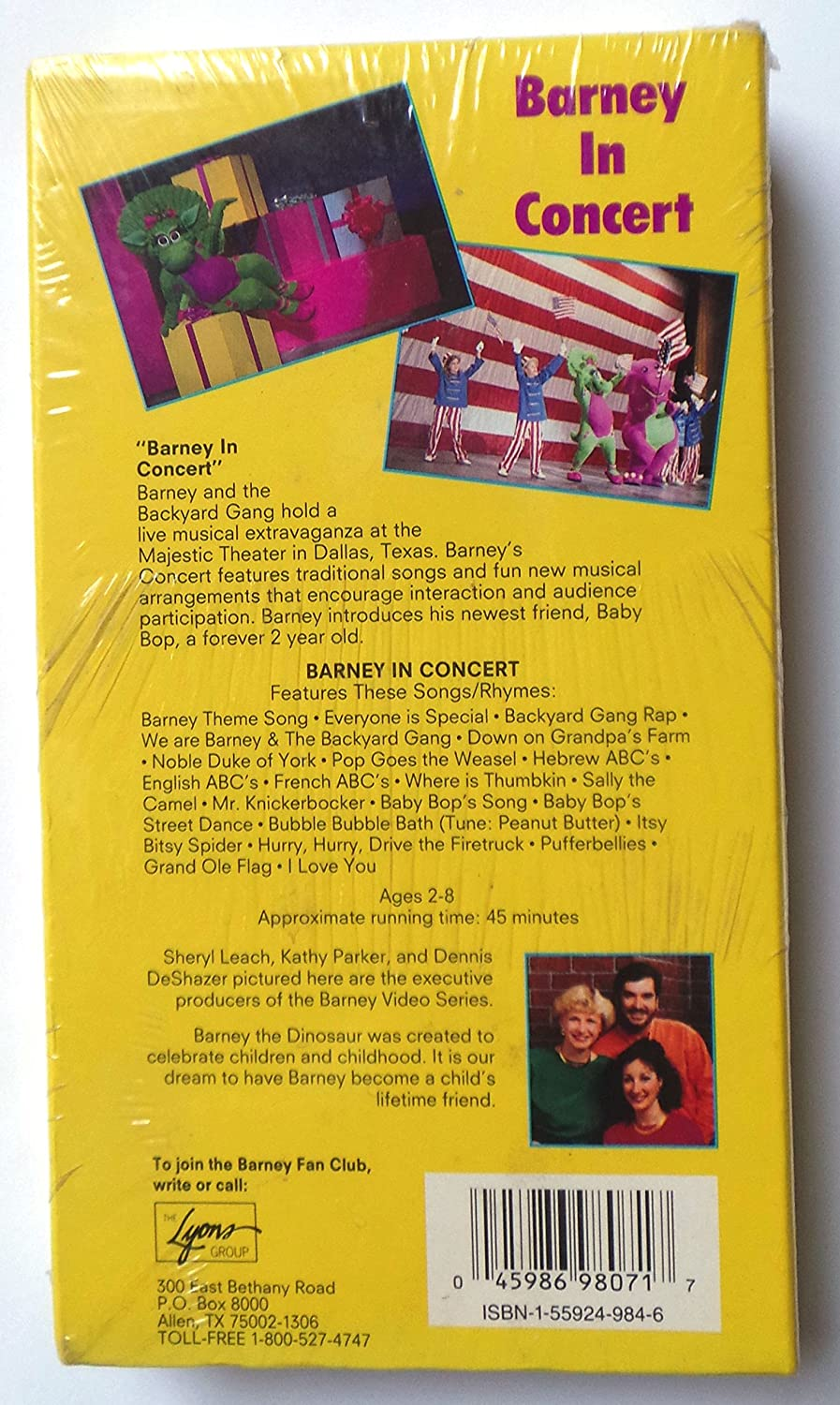 amazon com barney in concert vhs bob west julie johnson dean