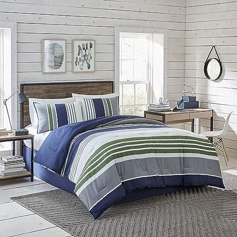 Izod Liam Comforter Set Cotton Indigo Full Queen 3 Piece Comforter Shams Home Kitchen