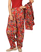 Rama Red Abstract Print patiala dupatta set.