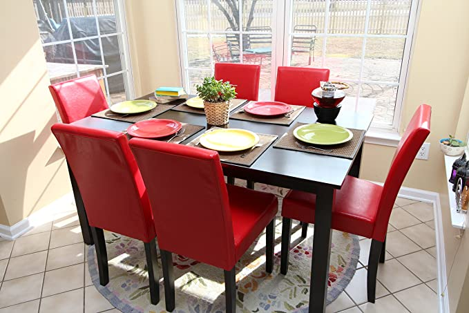 Amazon.com - 7 pc Red Leather 6 Person Table and Chairs red Dining ...