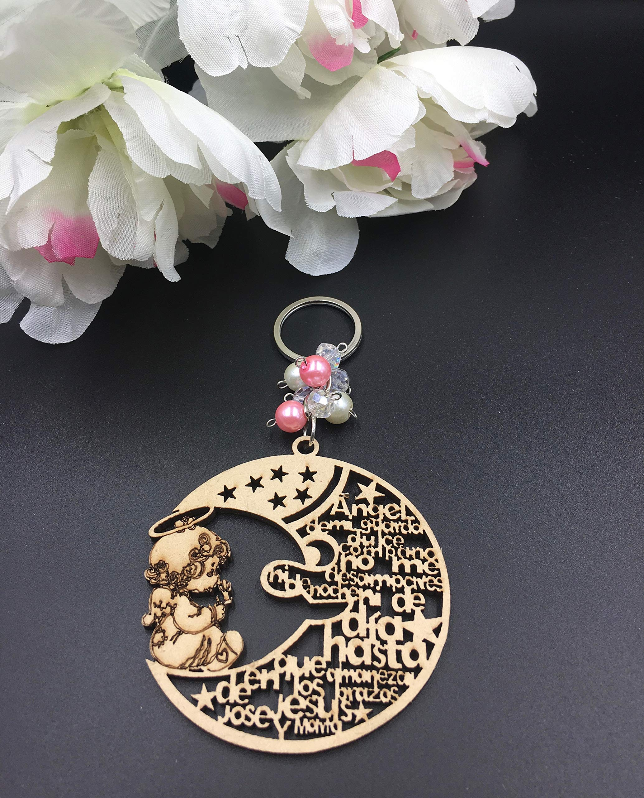 12Pcs Baptism Pink Girl Wood Angel Moon Design Keychain baptism Favors with Angels for Boy and Girl Recuerdos de Bautizo