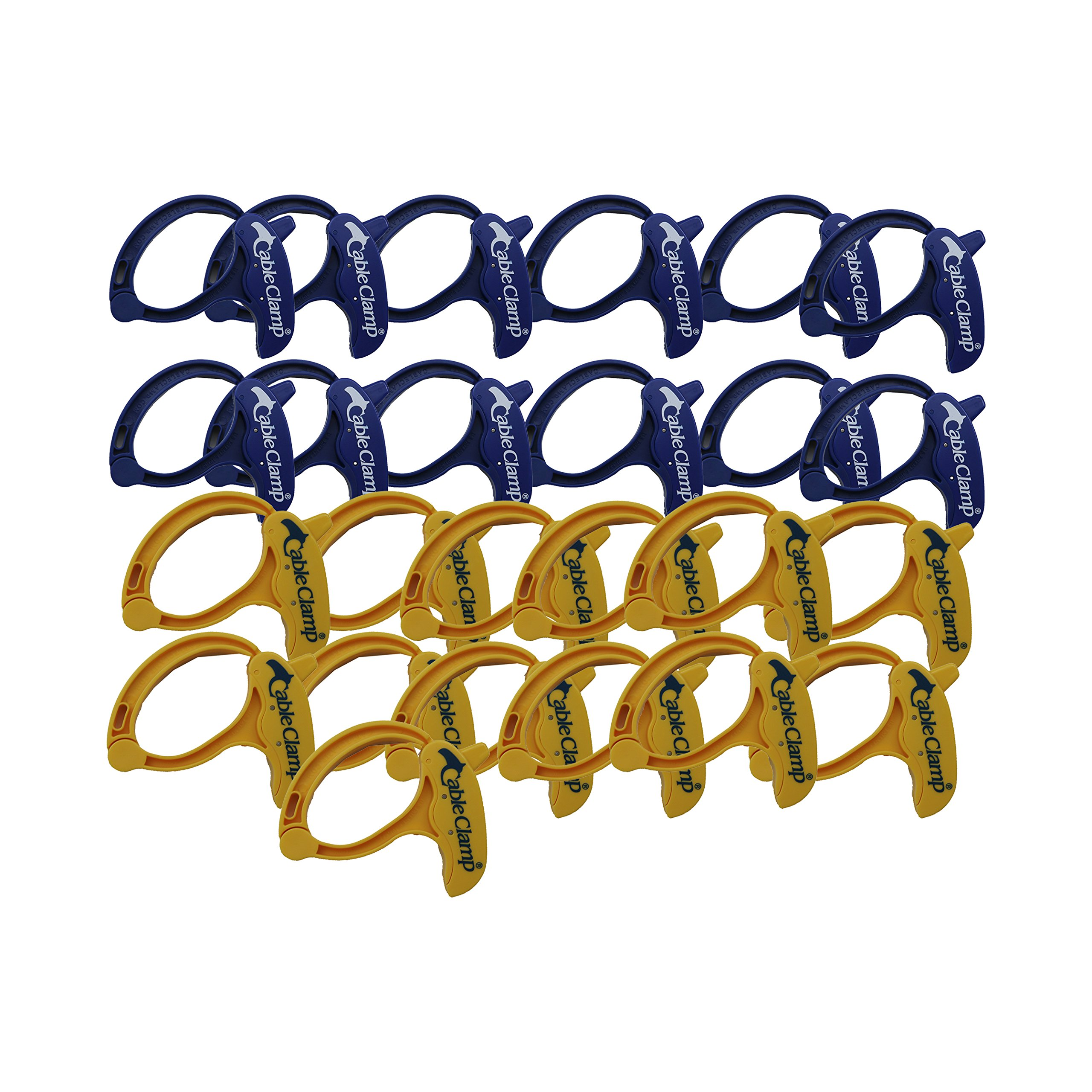(25 Pack) Cable Clamp Display Case Large Blue/Yellow Assortment Cable Management Organization
