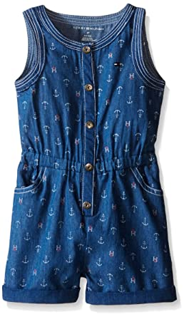 76ad03d34 Amazon.com  Tommy Hilfiger Girls  Printed Blue Chambray Romper  Clothing