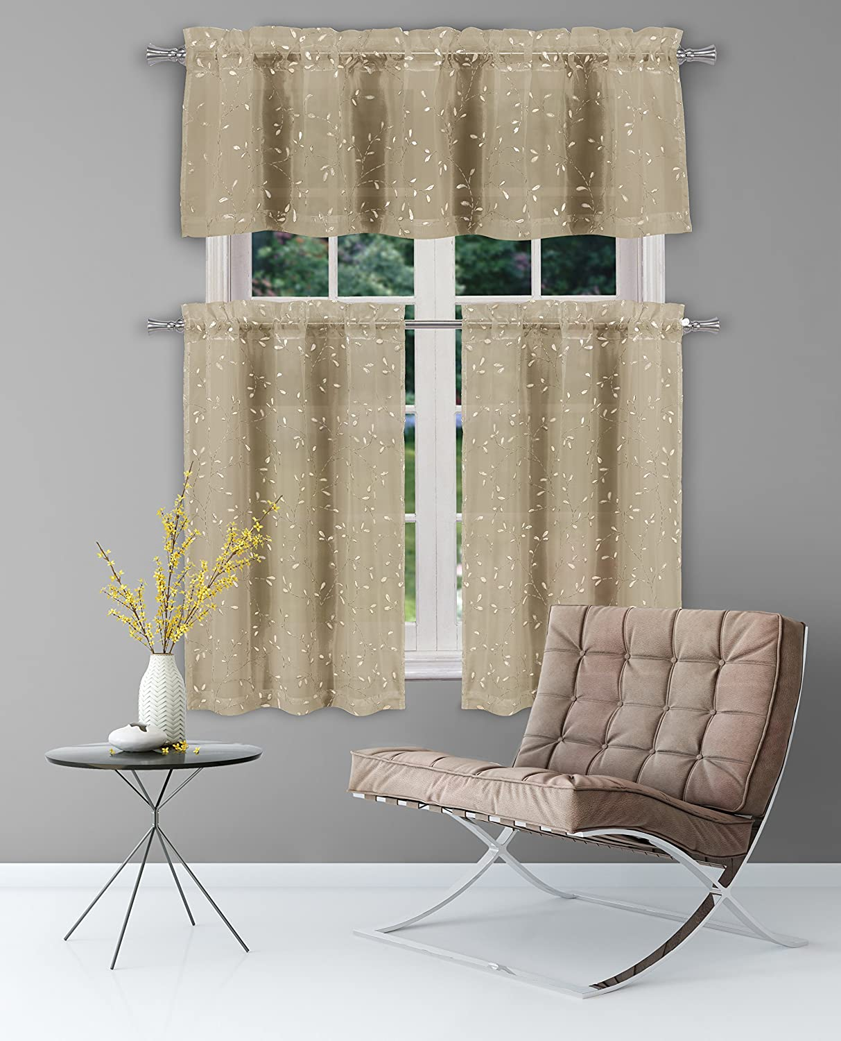 Duck River Textiles - Floral Kitchen Window Curtain Set Mistie, 2 Tiers 28 X 36 inch | 1 Valance 56 X 15 inch, Taupe and Gold MIKTG=12 /14155+
