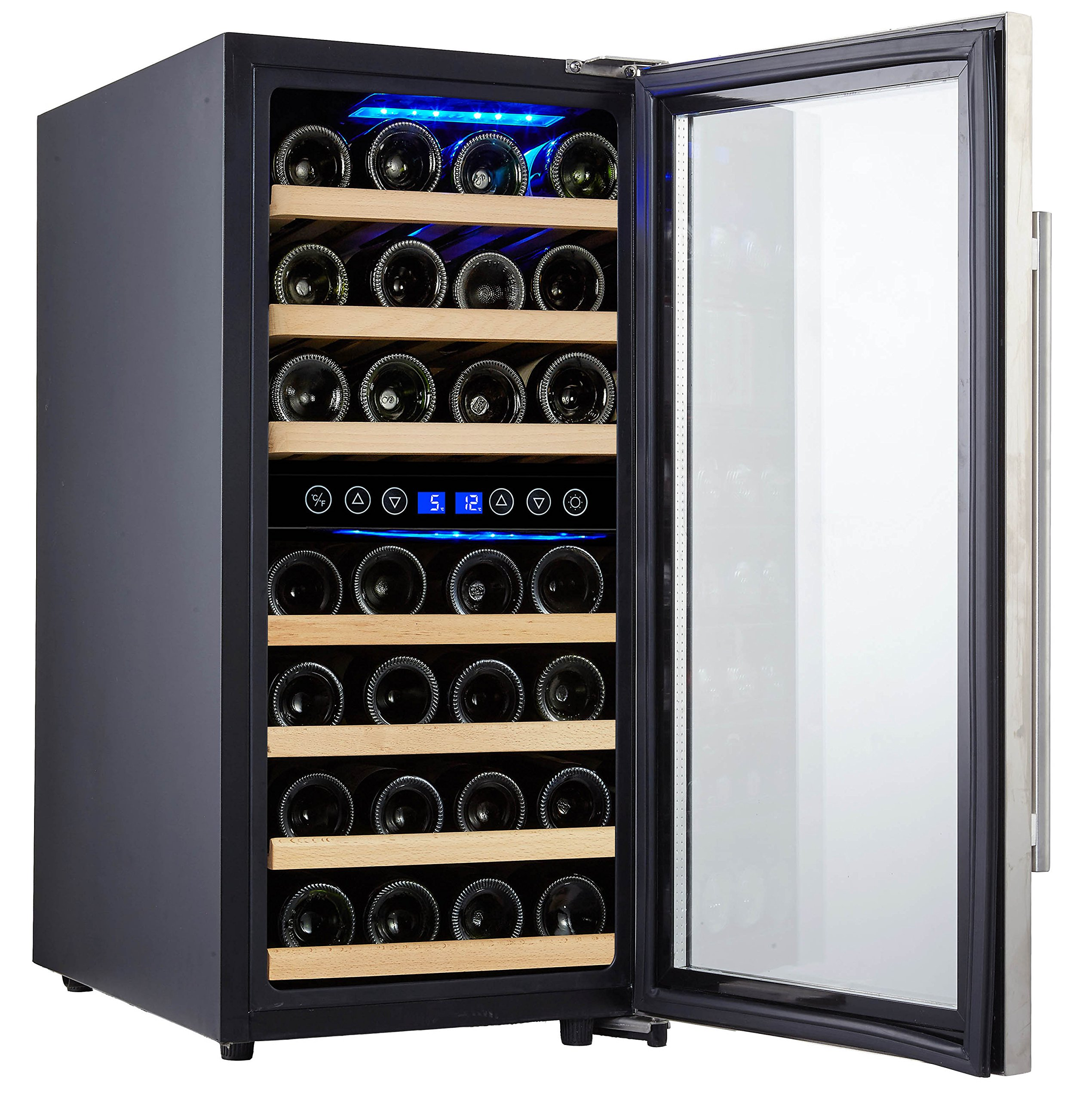Phiestina 33 Bottle Wine Cooler Double Zone Steel Door with Handle by phiestina (Image #2)