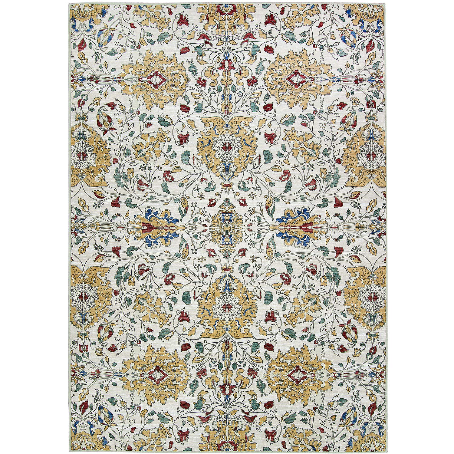 RUGGABLE Washable Indoor/Outdoor Stain Resistant 8'x10' (94''x120'') Area Rug 2pc Set (Cover and Pad) Traditional Floral Cream