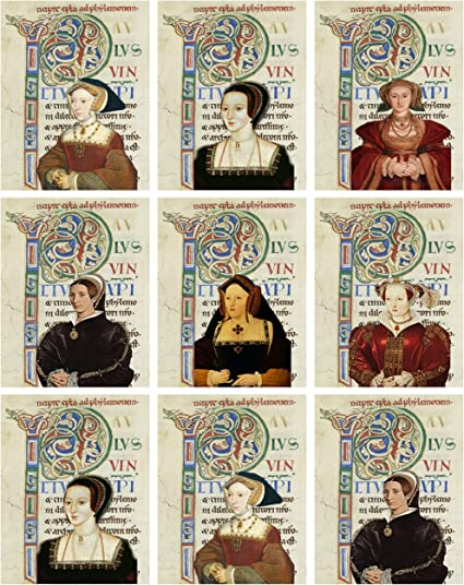 Art Supplies ATC Altered Art Gift Tags, 6 Wives of Henry VIII Collage Sheet Scrapbooking
