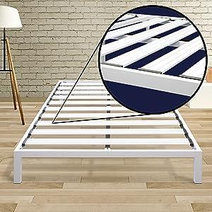 Best Price Mattress Model C Heavy Duty Steel Slat Platform Bed White, King / Sturdy, Durable Metal Bed Frame