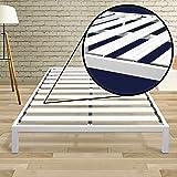 Best Price Mattress Queen Bed Frame - 14 Inch Metal Platform Beds [Model C] w/ Steel Slat Support (No Box Spring Needed), White