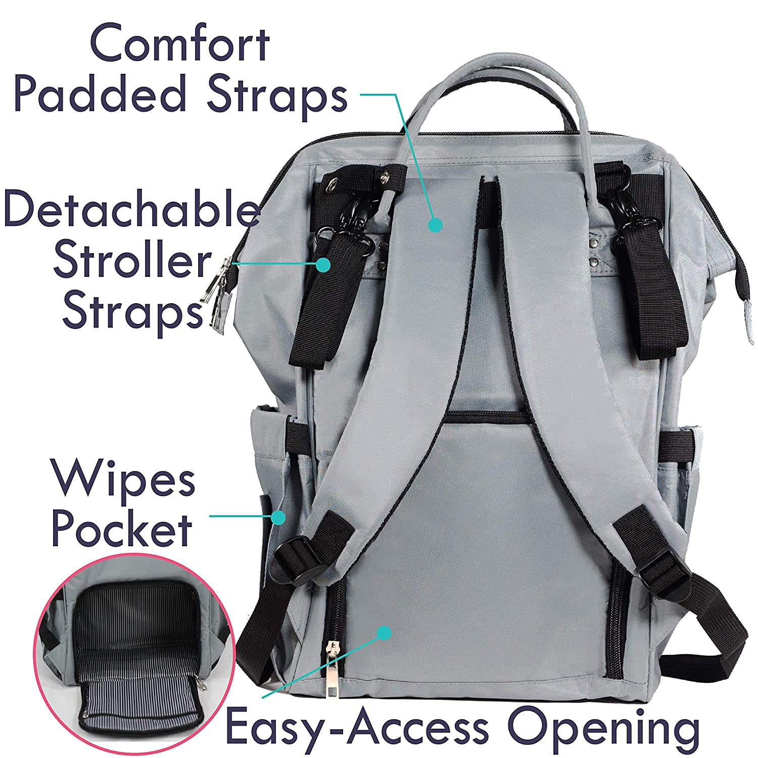 Nappy Bag for Mom Baby Diaper Bags with Changing Pad and Stroller Straps Large Designer Diaper Backpack for Boys and Girls Diaper Bag Backpack by Zohzo Waterproof /& Insulated for Travel