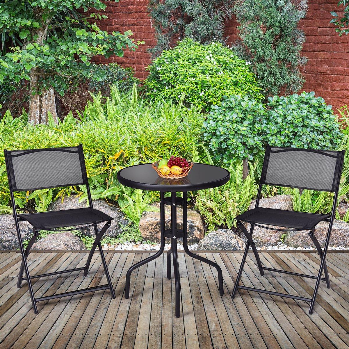 Giantex 3 Pcs Bistro Set Garden Backyard Round Table