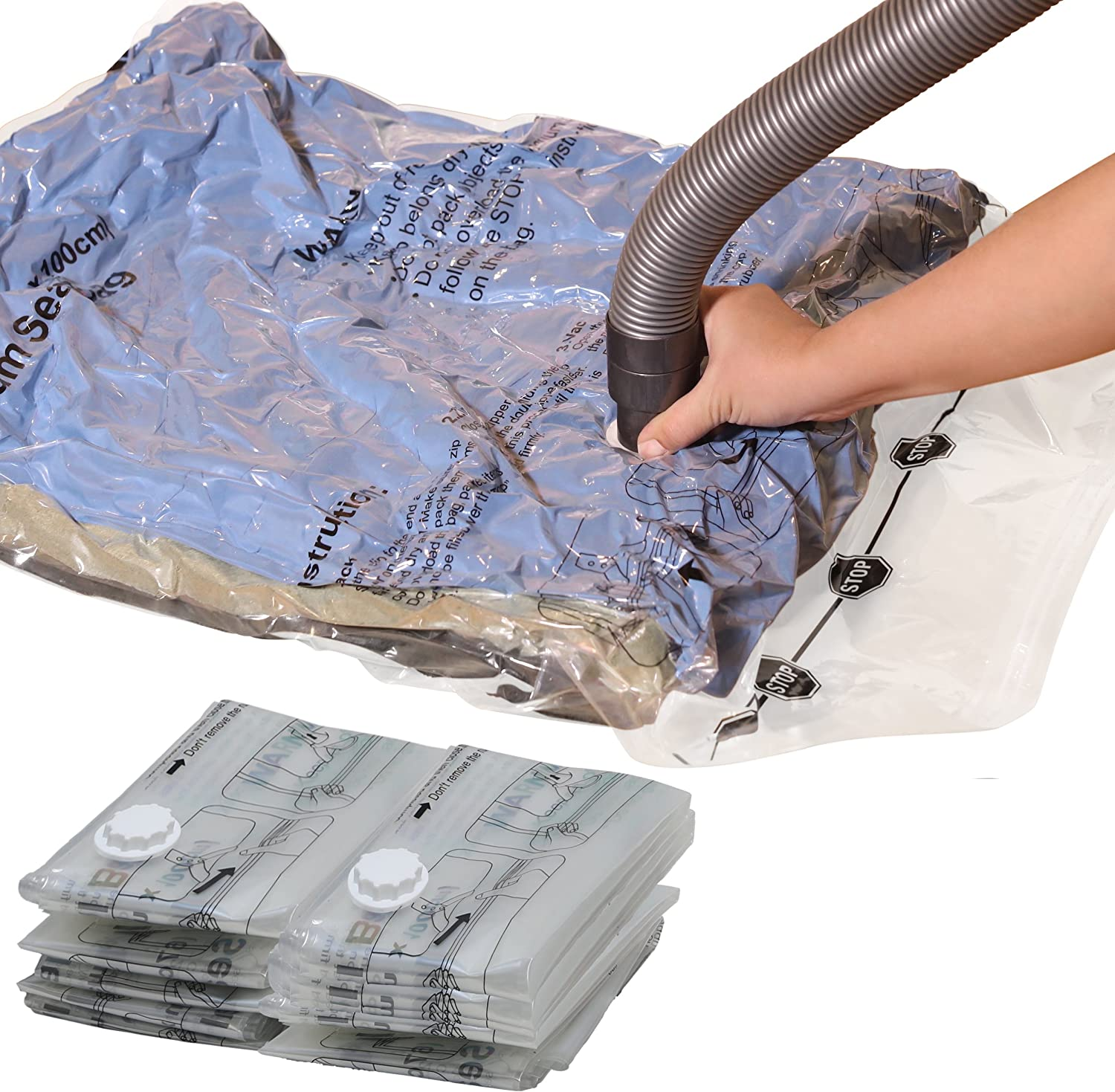 5Extra Simple Houseware V 15 Vacuum Storage Space Saver for Bedding Clothes Bags 4Large 4Medium Pack-2Jumbo 2 x Jumbo, 5 x Extra Large, 4 x Medium Pillows Blanket Towel Clear
