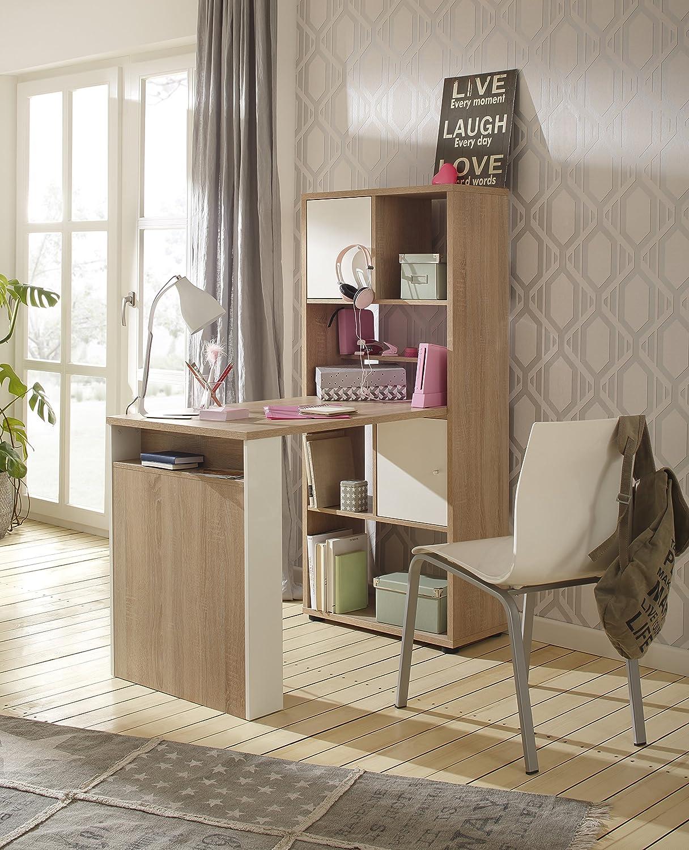 Minioffice von MAJA Möbel in Sonoma Eiche   Weiß matt 64x145x114cm wechselseitig montierbar Büro Komplettset Homeoffice