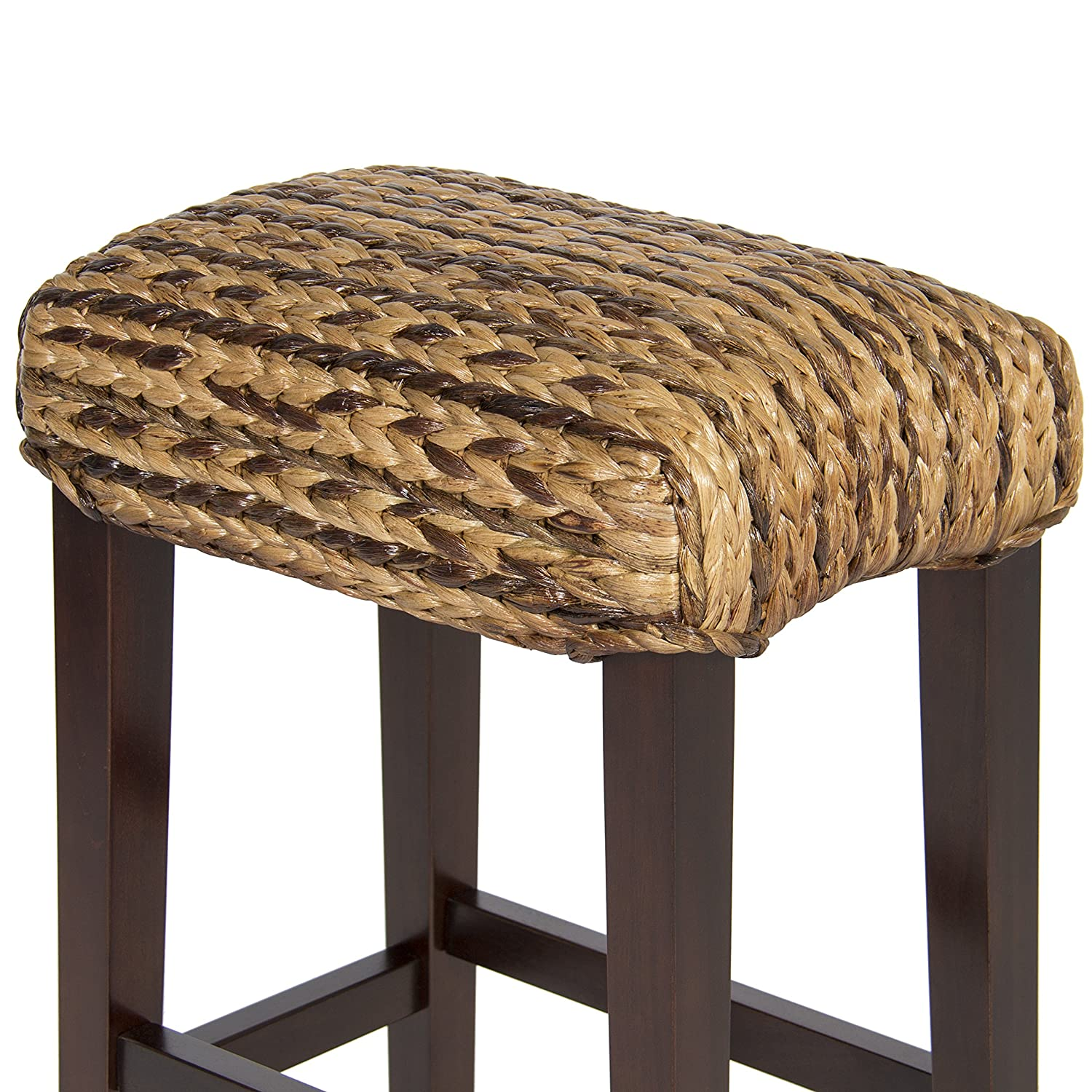 Uncategorized Woven Stools amazon com best choice products bcp set of 2 hand woven seagrass bar stools mahogany wood frame height home kitchen