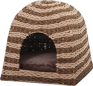 """Banana Cabana - PetPals Woven Water Hyacinth Cat House with Pillow, 16 x 16 x 16"""""""