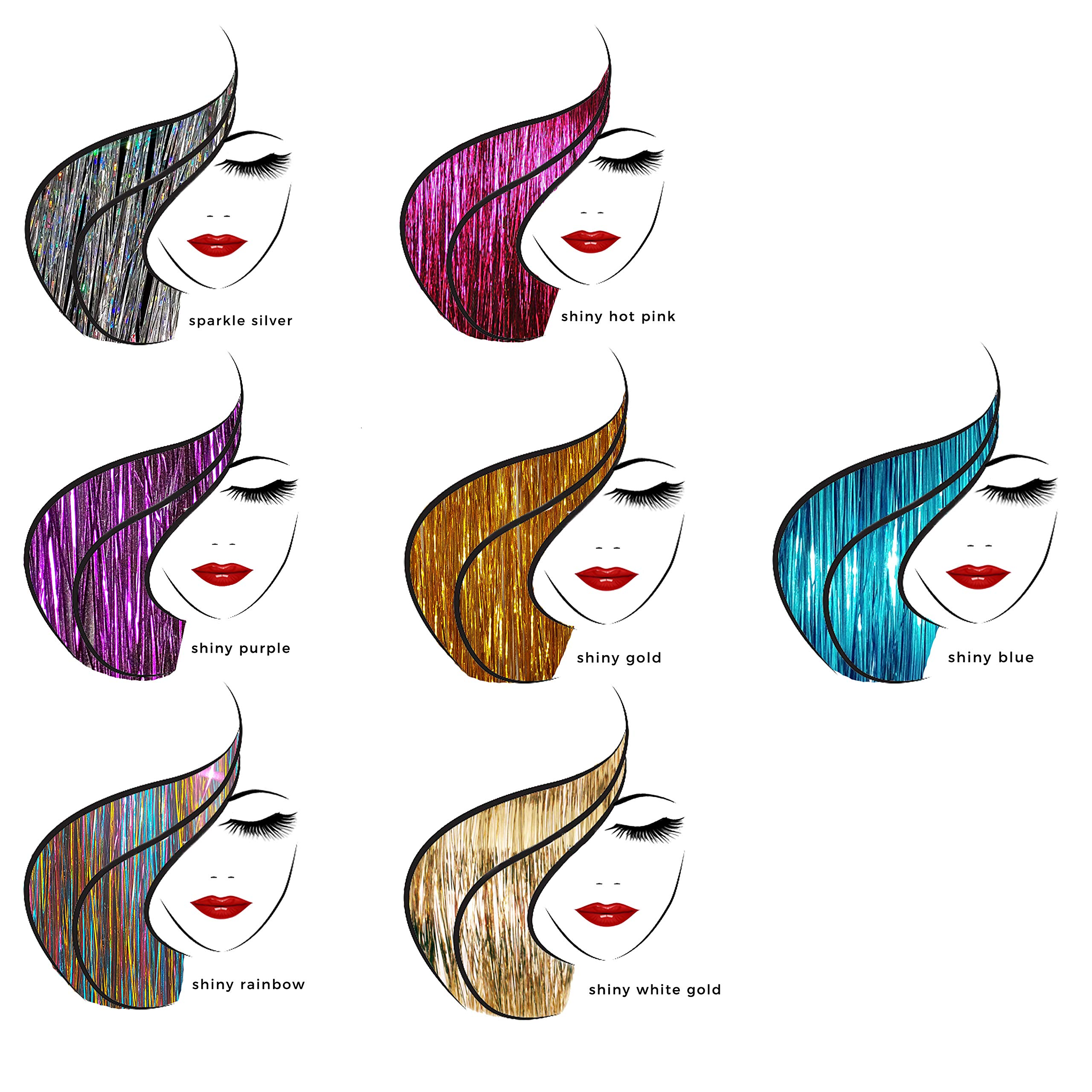20'' Hair Tinsel 175 Strands Seven Colors (Sparkling Silver, Purple, Rainbow, Hot Pink, Gold, White Gold, Blue) With Bonus by La Demoiselle (Image #3)