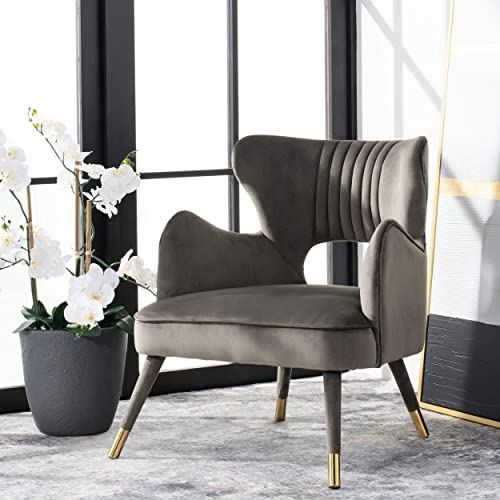 Safavieh Home Blair Retro Glam Shale Velvet and Gold Wingback Accent Chair