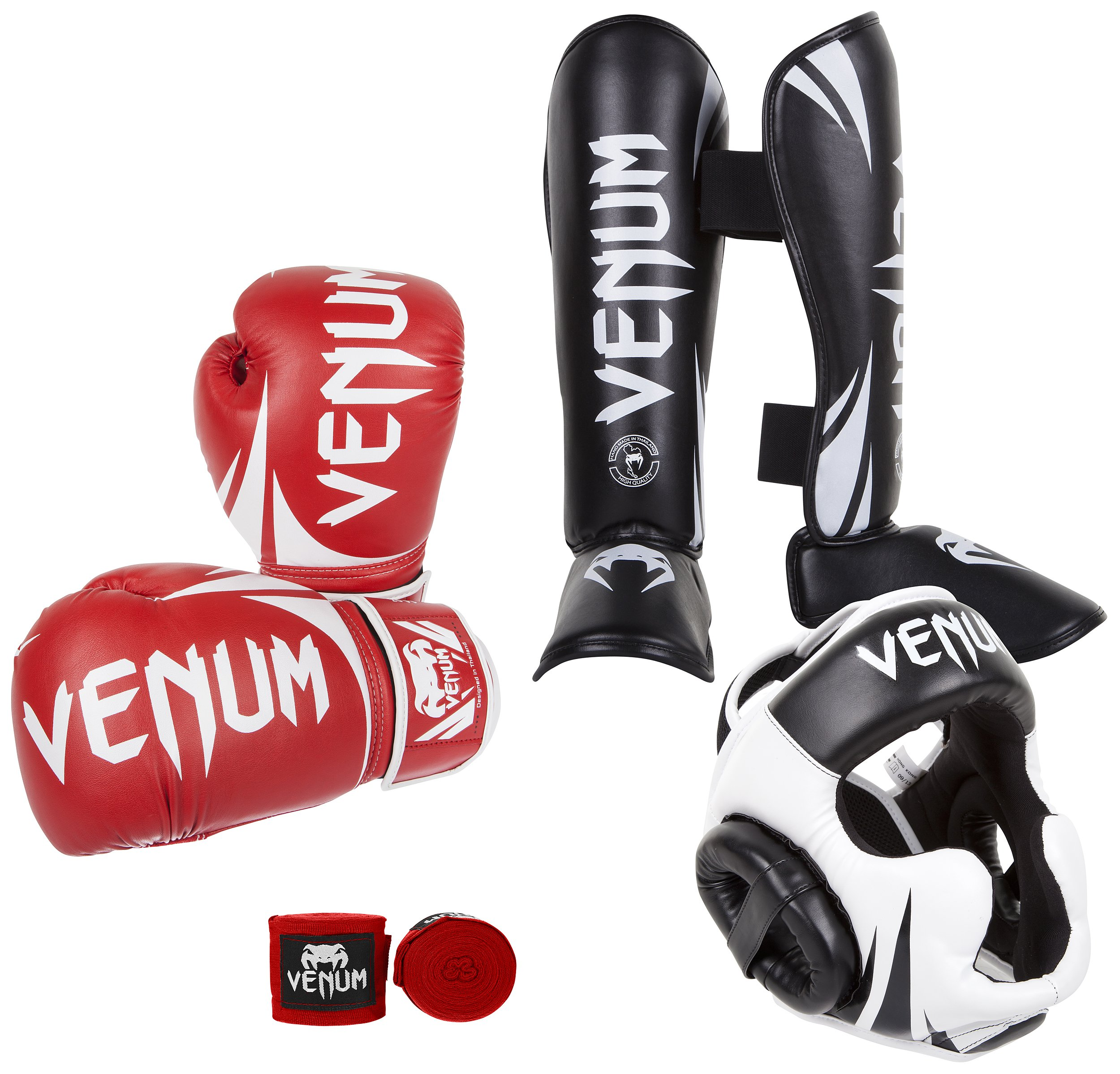 Venum Challenger 2.0 Standup Bundle, Red Gloves, Black Shinguards, Black/White Headgear, Red Handwraps, 12-Ounces Gloves, X-Large Shinguards, Headgear One Size, Handwraps 4M by Venum