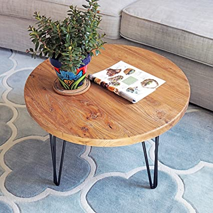 Wooden Coffee Table.Welland Rustic Round Old Elm Wooden Coffee Table