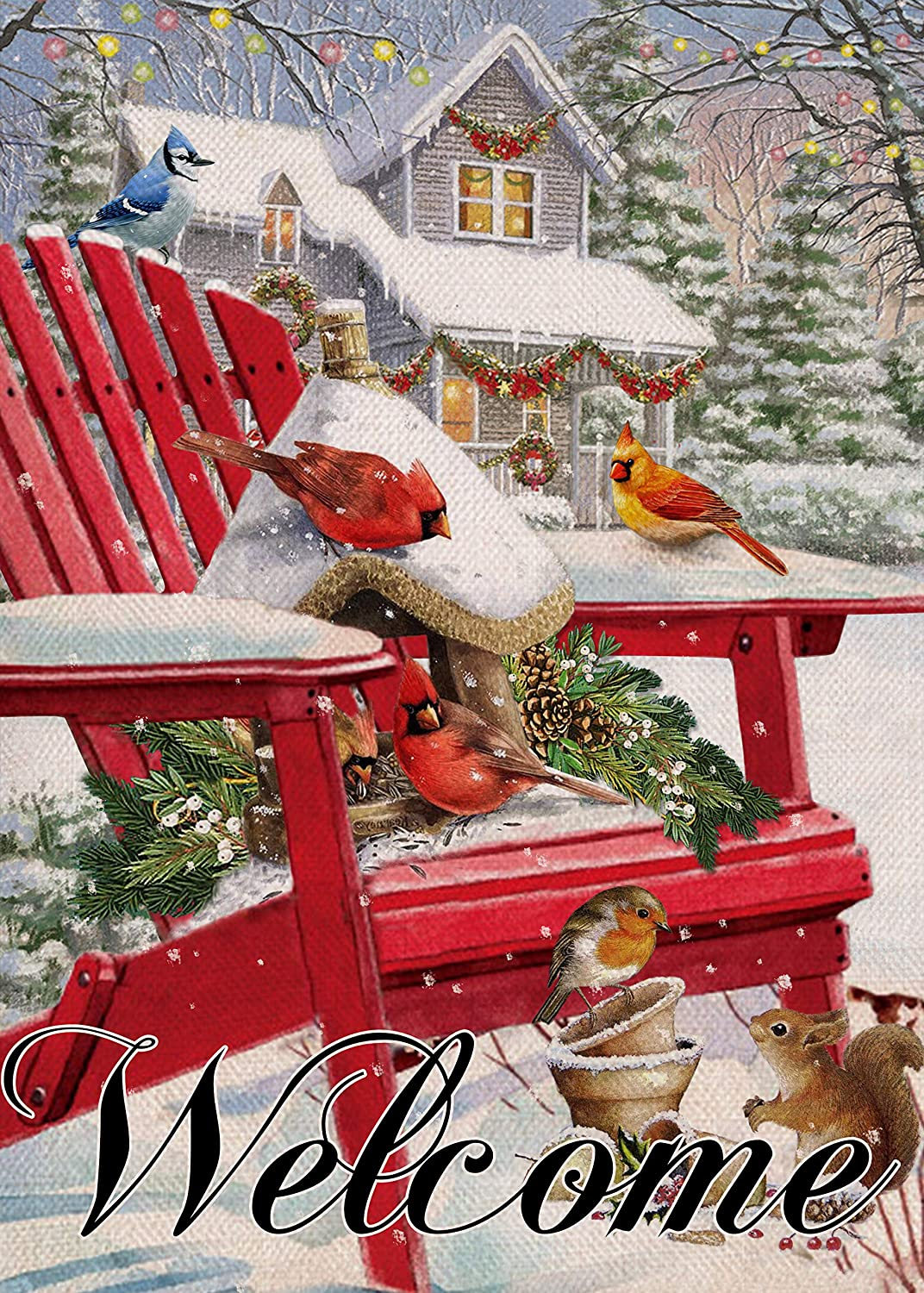 Covido Home Decorative Winter Welcome Garden Flag, Christmas Holiday House Yard Cardinal Bird Squirrel Snowy Decor, Xmas Outside Red Chair Decorations Seasonal Outdoor Small Flag Double Sided 12 x 18